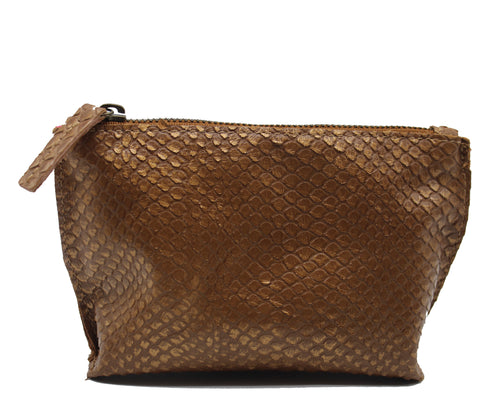 Cognac Snake Print Leather Makeup Bag - Chateau Hi