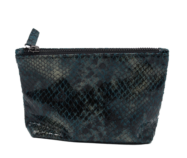 Indigo Snake Print Leather Makeup Bag - Chateau Hi