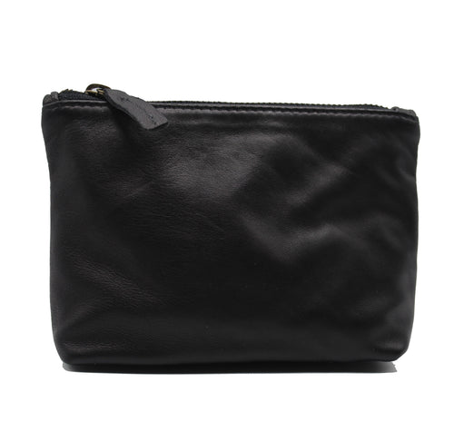 Black Leather Makeup Bag - Chateau Hi