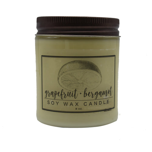 Grapefruit Bergamot Essential Oil  Soy Candle - Chateau Hi