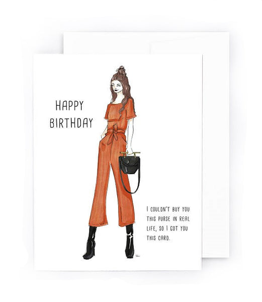 Can't afford the luxury bag, so here's a birthday card with a cute bag in it instead.