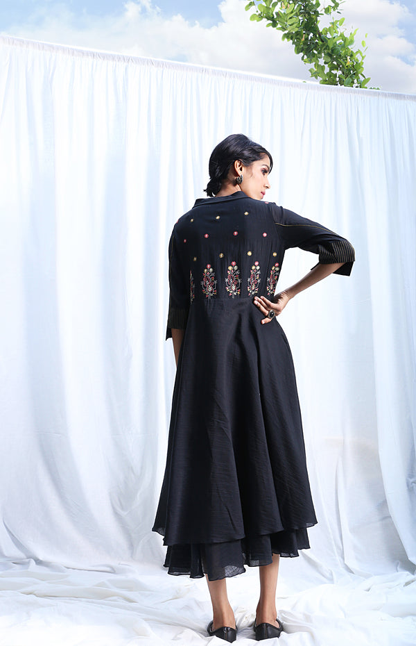 Black Layered Dress with Embroidery