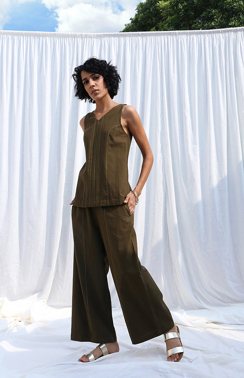 Olive Sleeveless Top And Pants