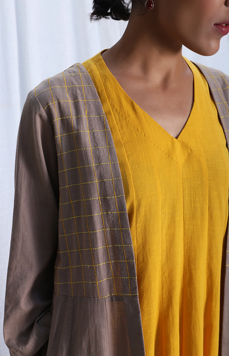 Mustard Paneled Sleeveless Dress With Grey Overlay