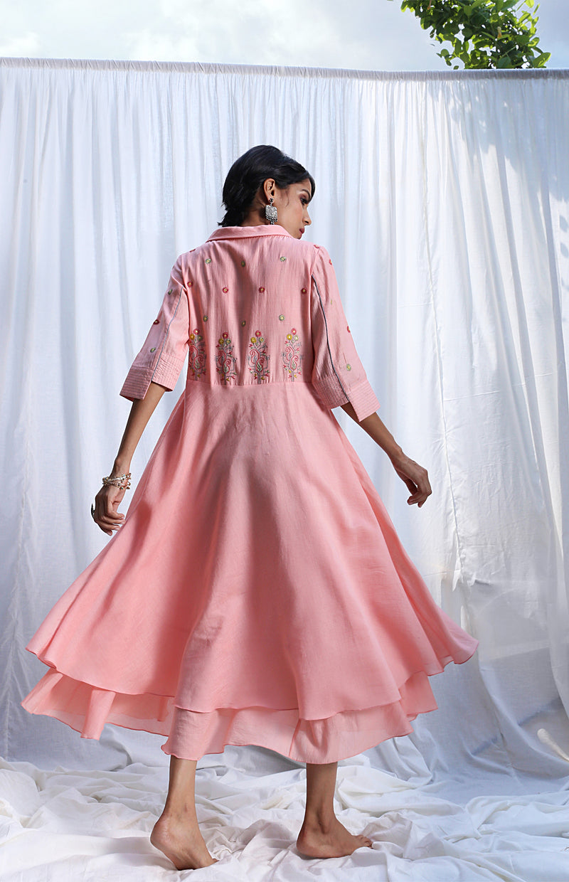Peach Layered Dress With Embroidery