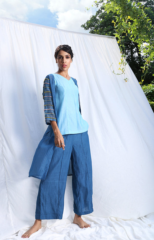 Blue Sleeveless Top And Pants