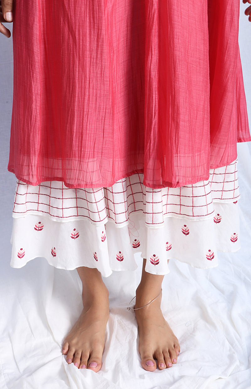 Carrot Pink Paneled Dress with Embroidered Hemline
