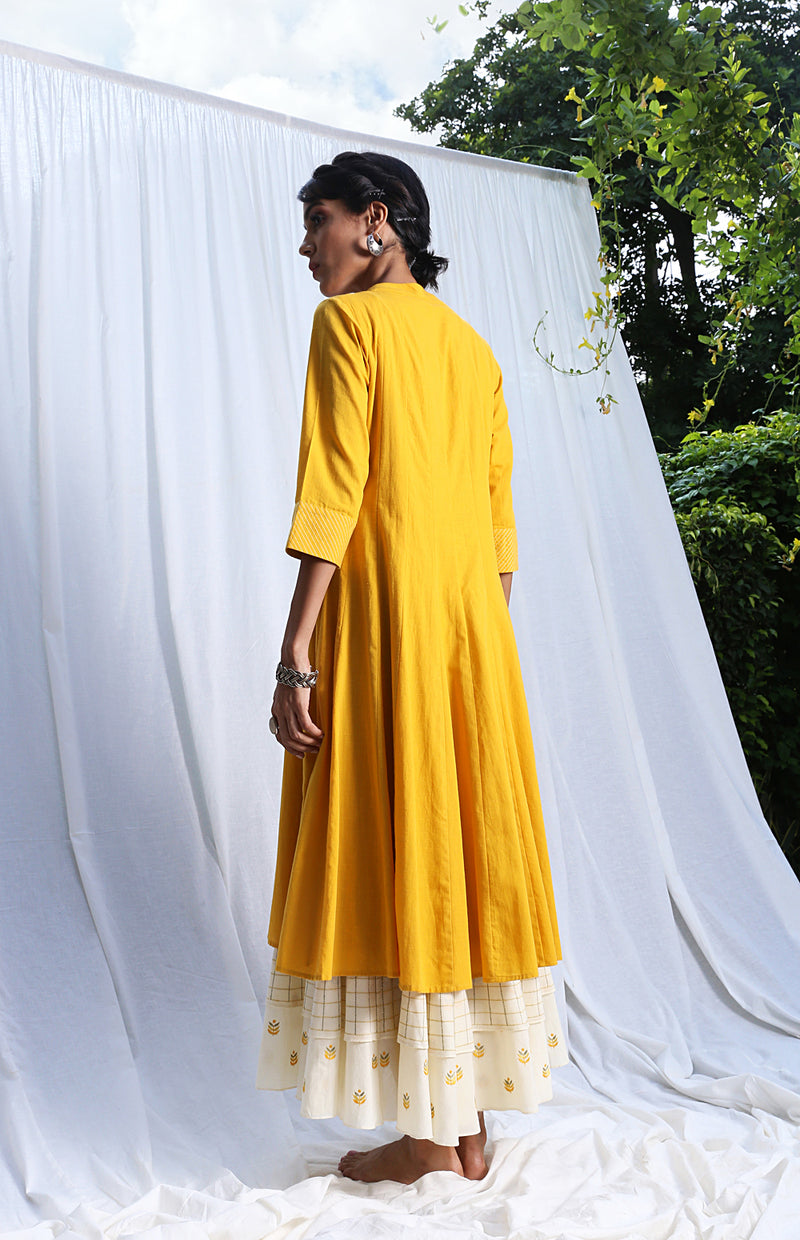 Mustard Paneled Dress with Embroidered Hemline