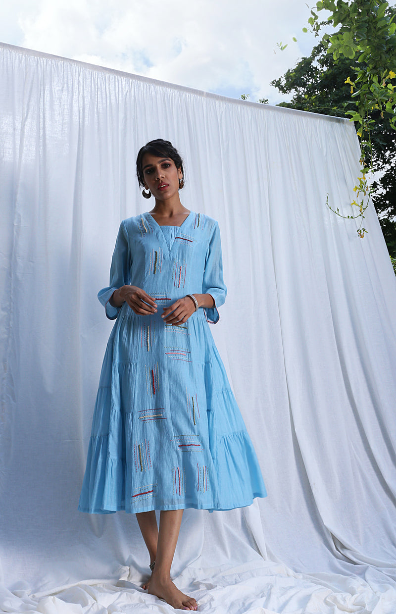 Light Blue Tiered Dress With Embroidery