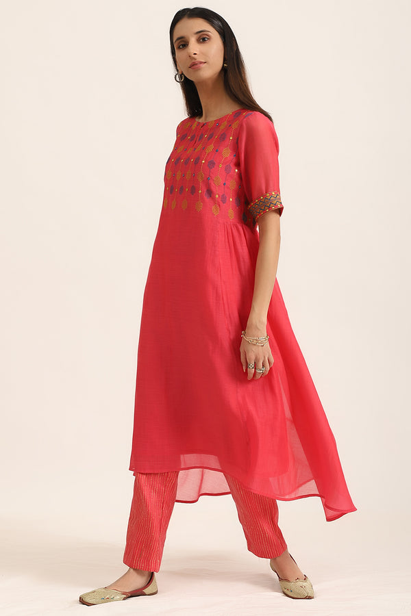Hot Pink Kurta with Pants