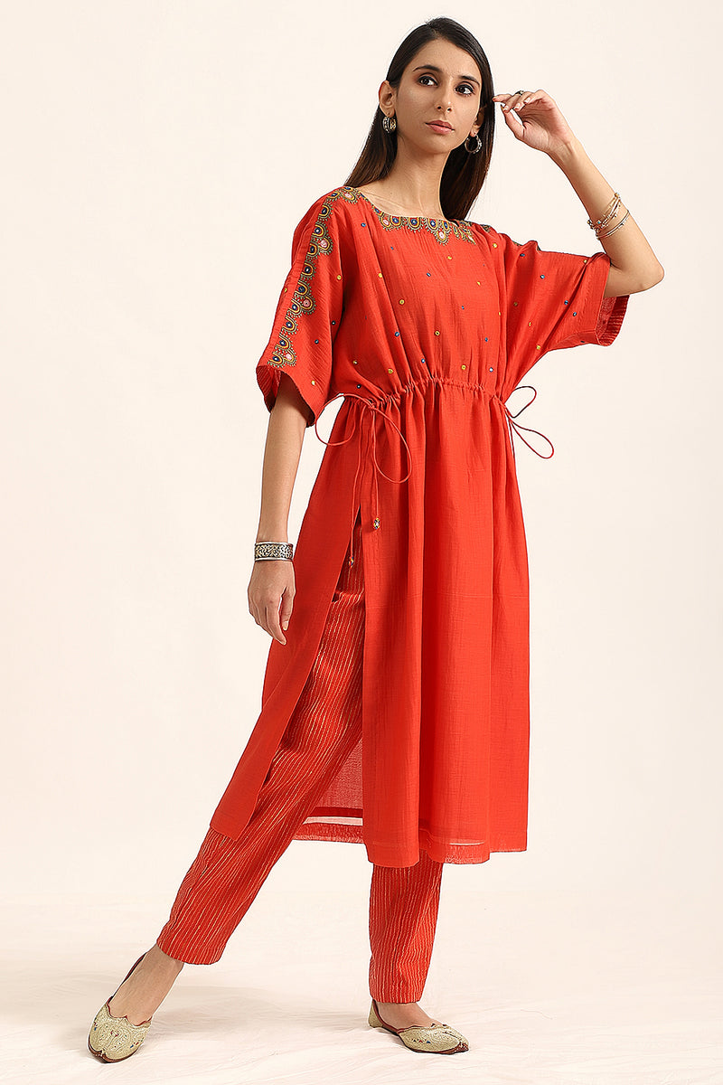 Red Kaftan Style Kurta with Pants