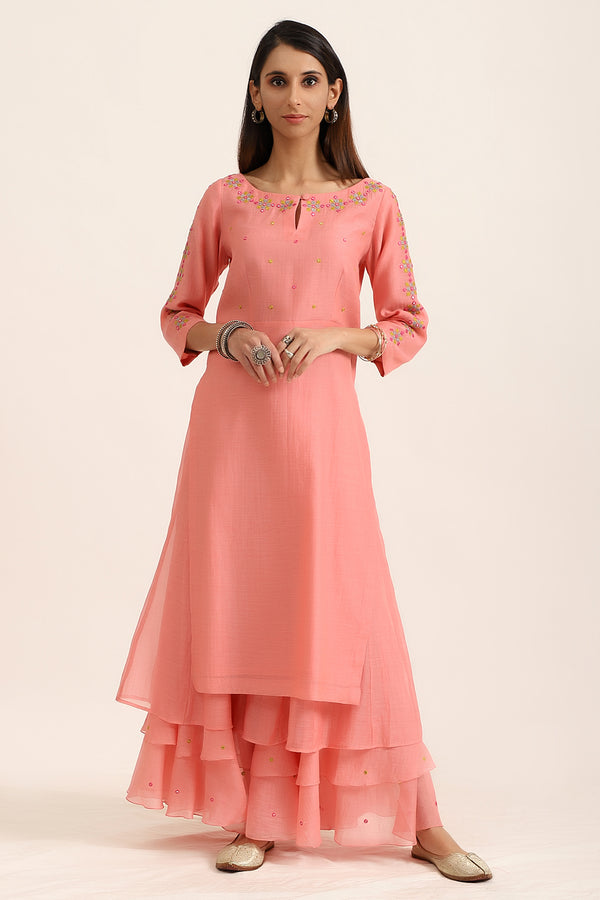 Light Pink Kurta With Triple Layered Palazzos