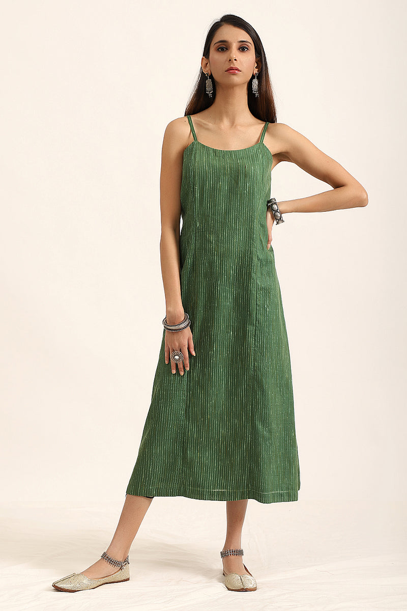 Bottle Green Overlay with A-Line Dress