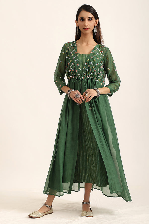 Bottle Green A-Line Dress With Overlay
