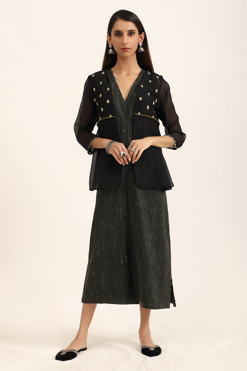 Black Empire Line Dress with Jacket