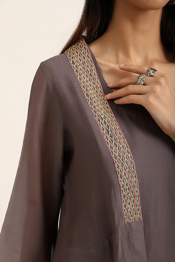 Slate Grey Kurta Set with Overlay