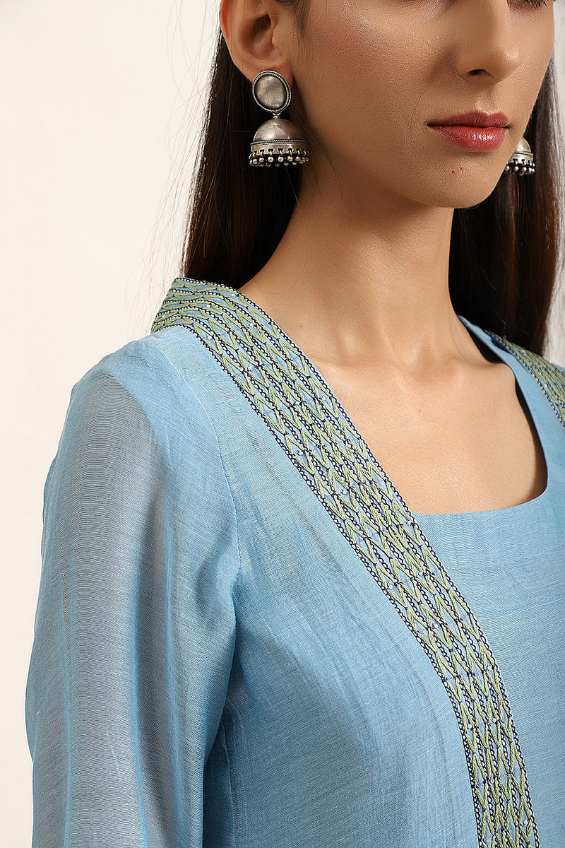 Light Blue Kurta set with Overlay
