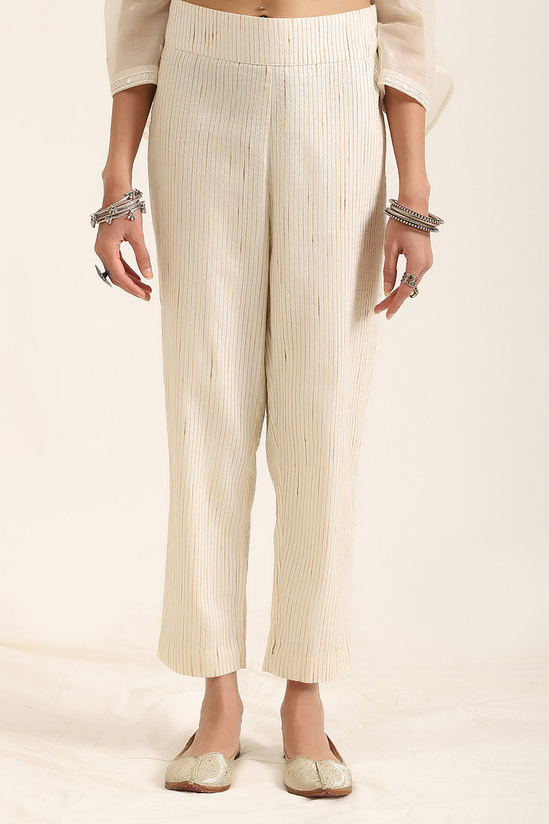 Classic Off-White Self Stripe Pants