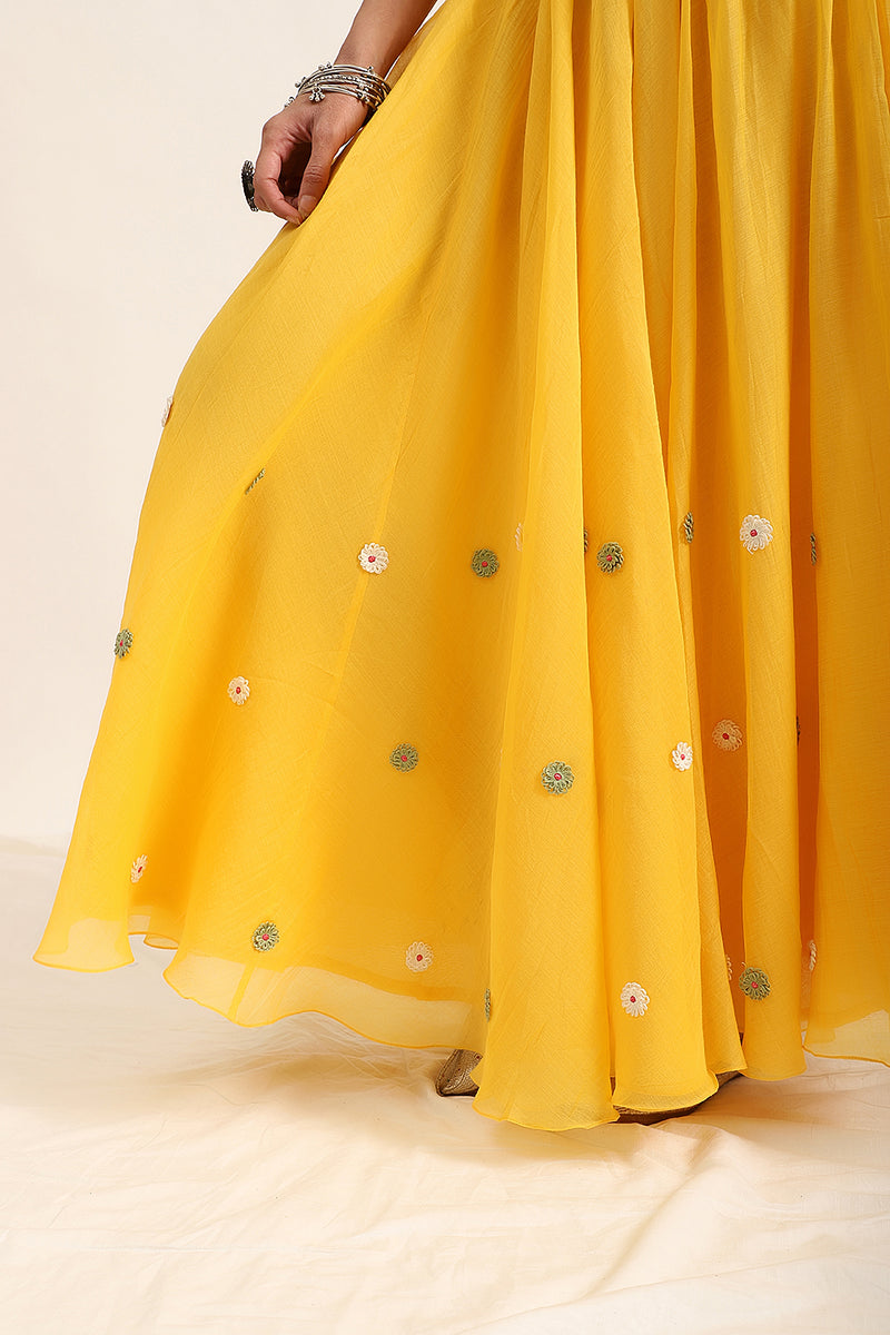 Marigold Yellow Shirt top with Gathered Skirt