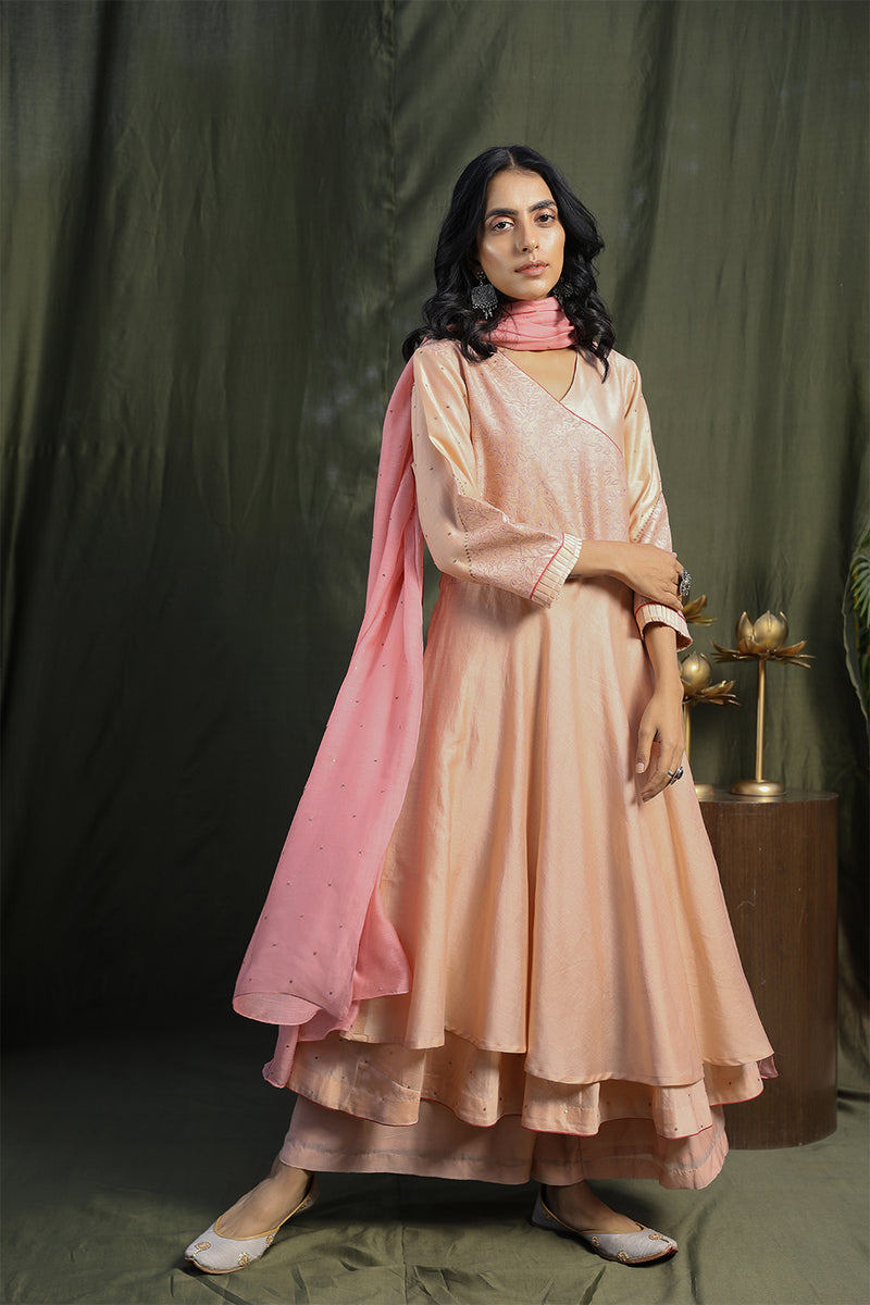 Ash Pink Double Layered Kurta With Palazzos