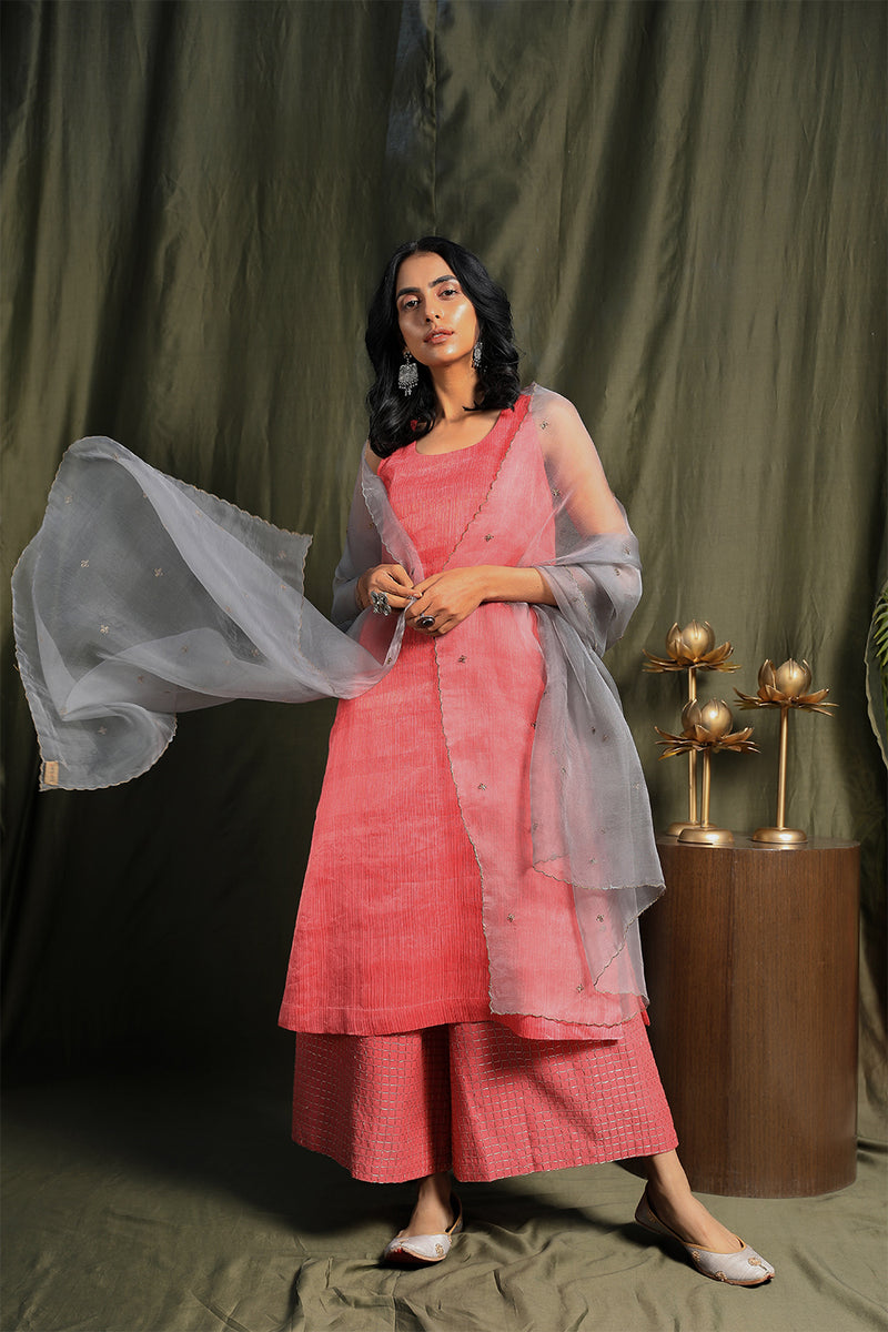 Coral Pink Sleeveless A-Line Kurta With Palazzos