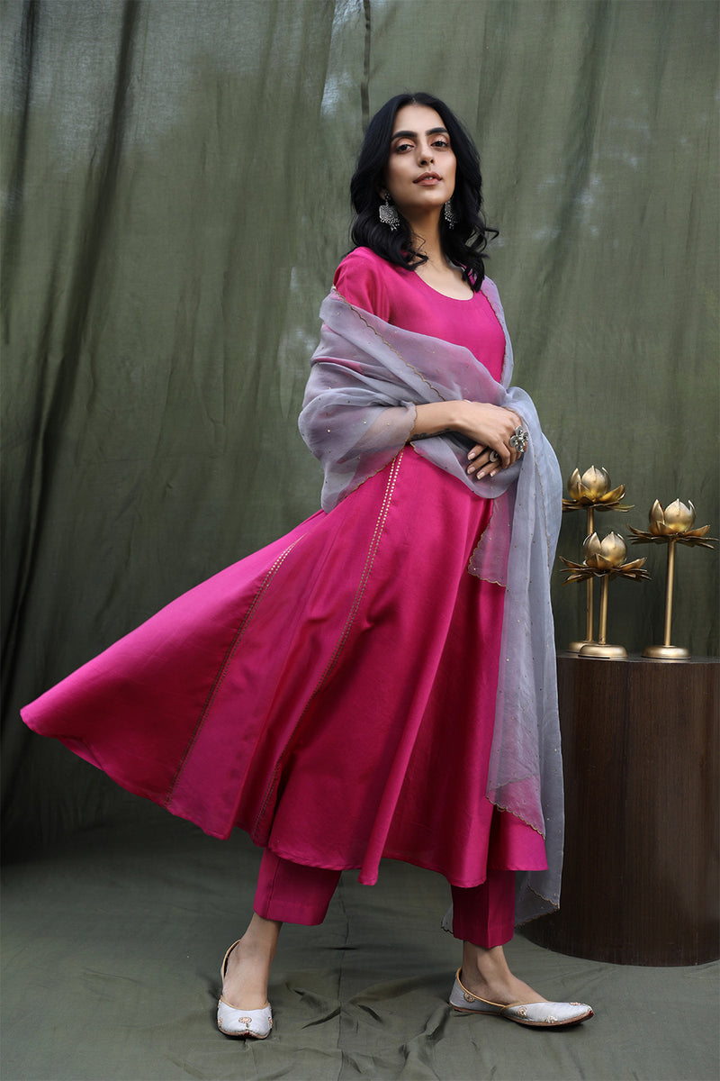 Dark Fuchsia Pink Flared Kurta With Lowers