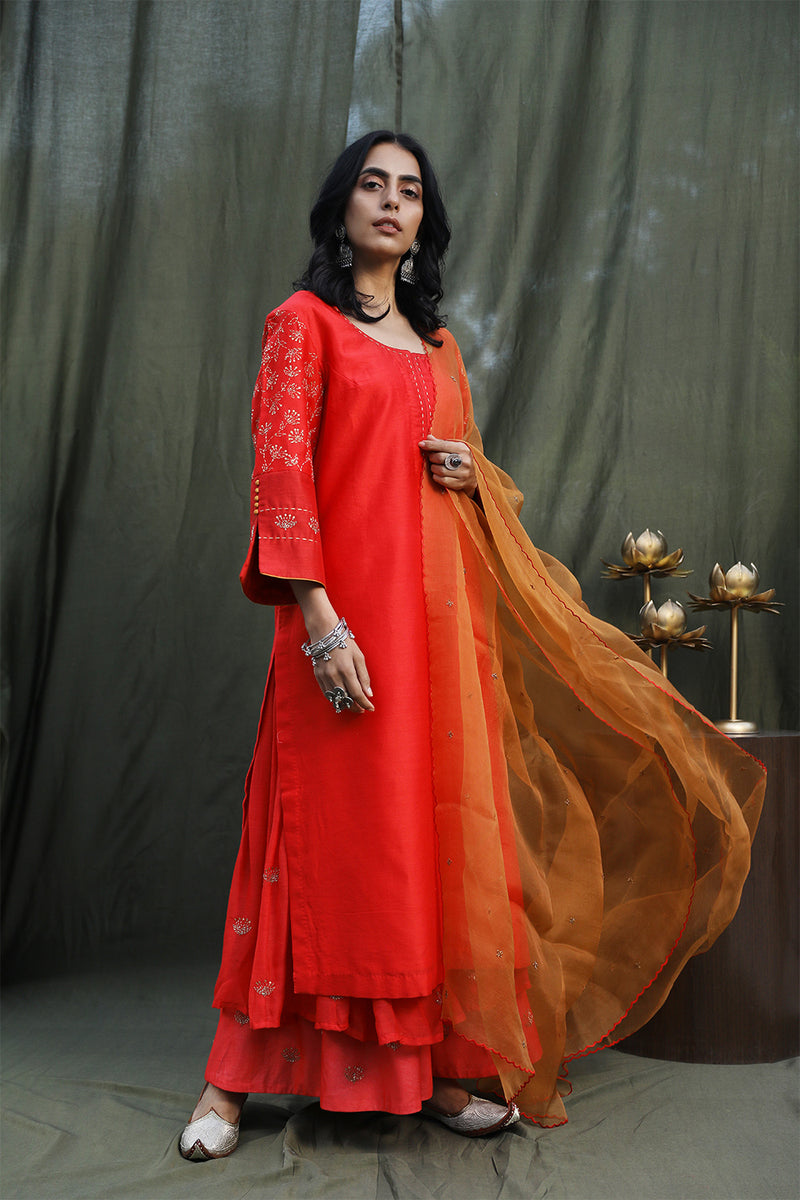 Red Embroidered Kurta With Double Layered Palazzos