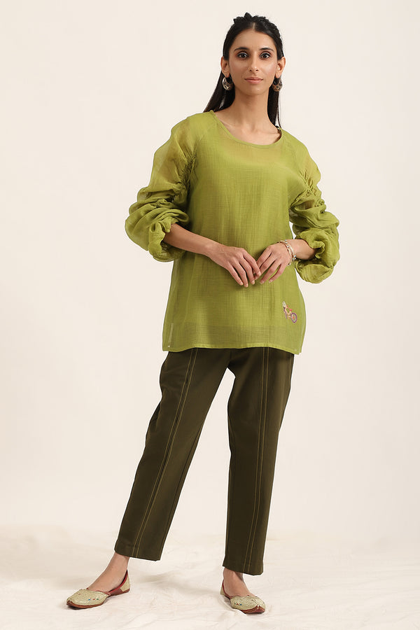 Leaf Green Top with Balloon Sleeves