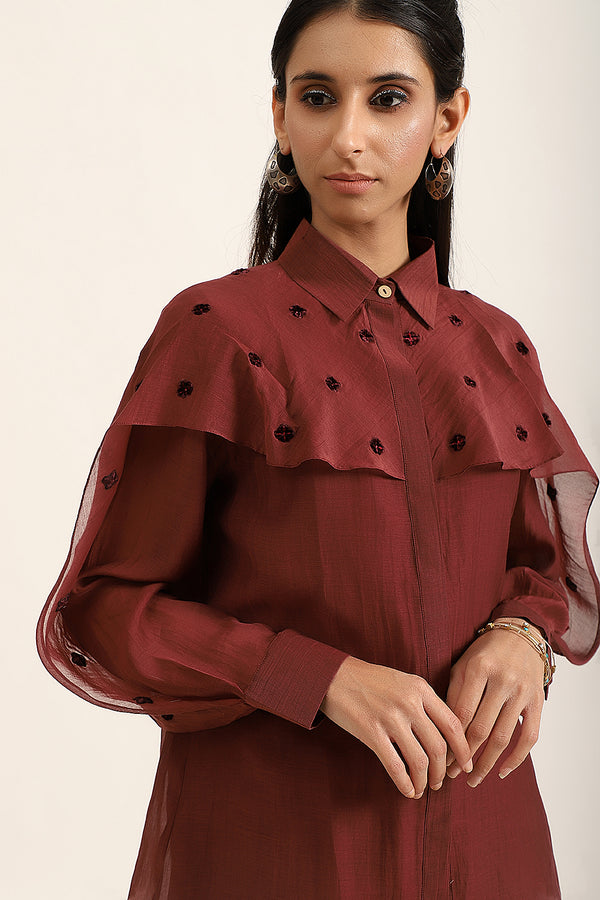 Wine Cape Sleeves Shirt
