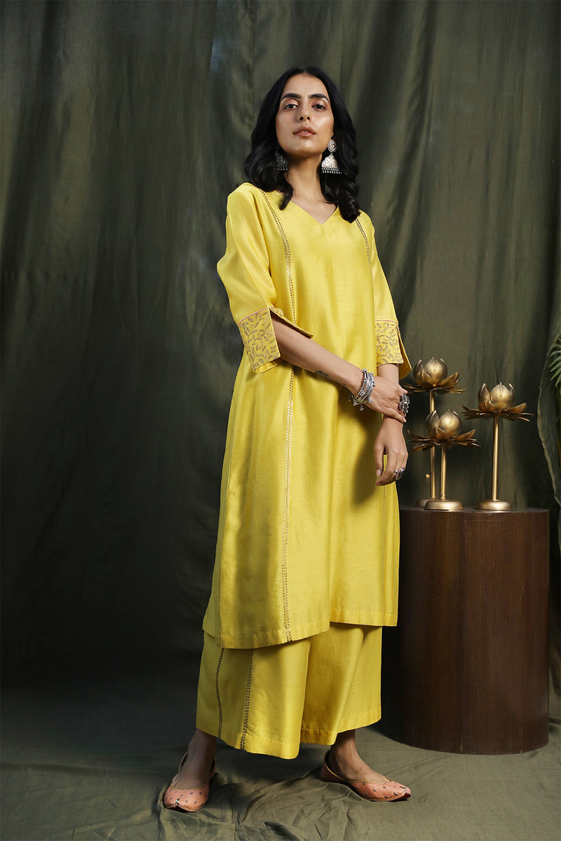 Fresh Green A-Line Kurta With Palazzos