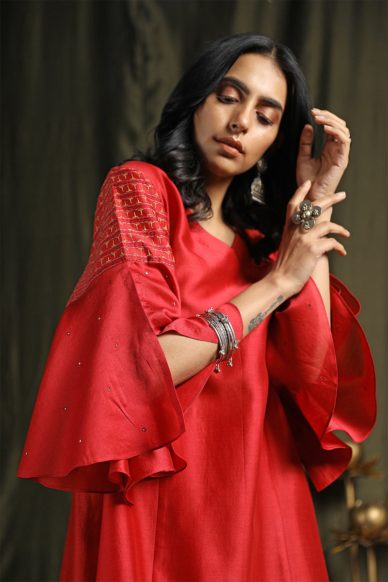 Plum Red Princess Cut Kurta With Palazzos