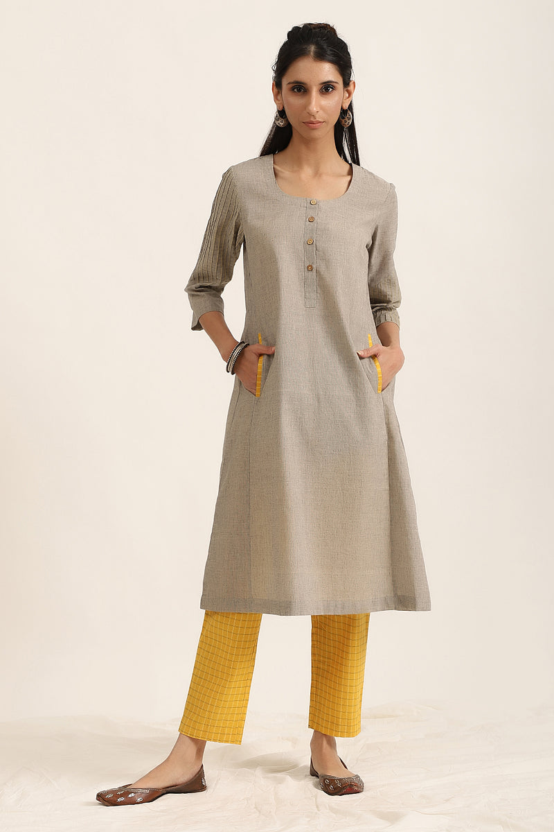 Light Grey Kurta with Mango Yellow Check Pants