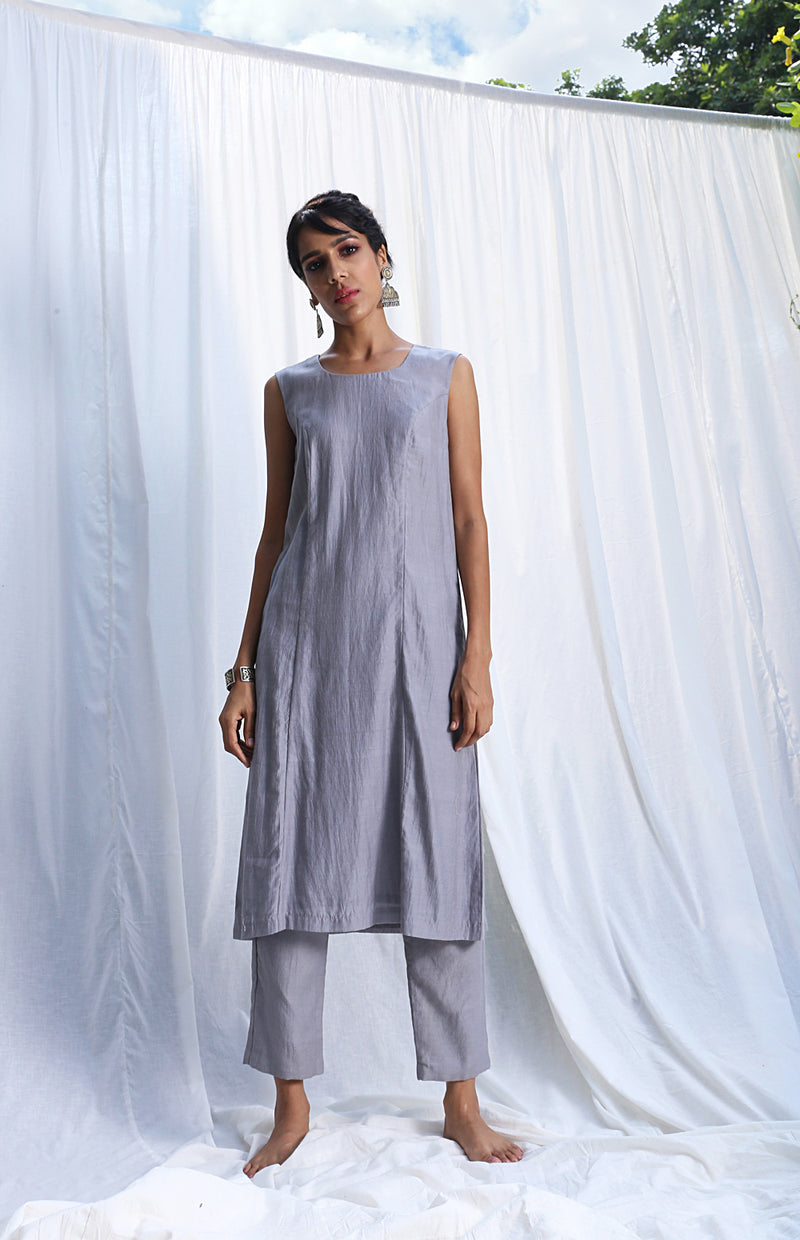 Grey Princess Cut Sleeveless Kurta Set With Lemon Yellow Overlay