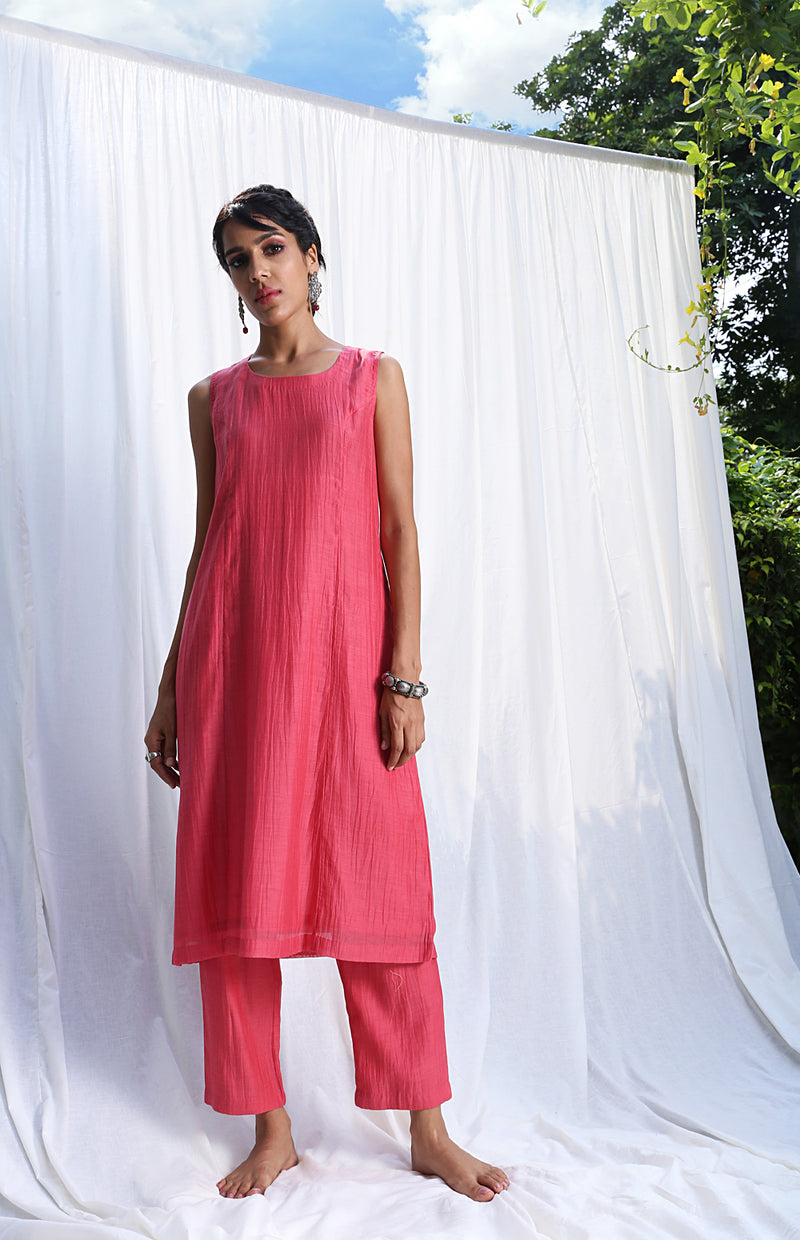 Carrot Pink Princess Cut Sleeveless Kurta Set