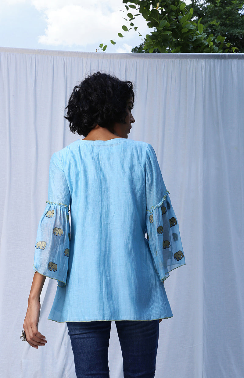 Light Blue Pleated Top With Embroidered Peplum Sleeves