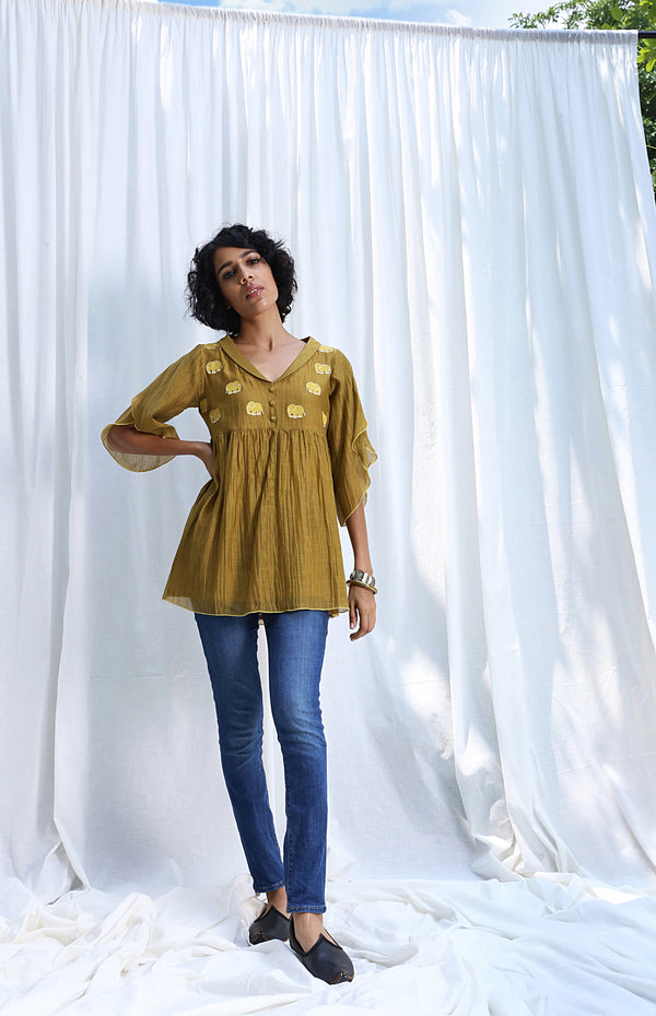 Khaki Yellow Empire Top With Petal Sleeves