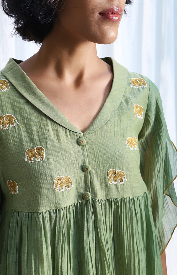Forest Green Empire Top With Petal Sleeves