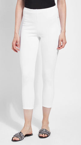 Crop Toothpick Denim Lysse Leggings (White)