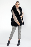 Long Hooded Faux Fur Gilet (Slate, Silver Grey, or Pink)