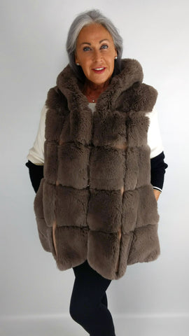 Long Hooded Faux Fur Gilet (Slate, Silver Grey, Black, Navy, Mocha or Pink)
