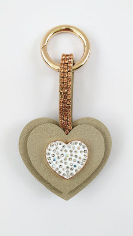 Crystal Heart Keyring charm (Black, Silver or Gold)
