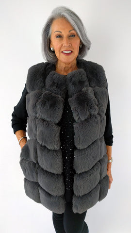 Mid-length Faux Fur Panelled Gilet (Slate Grey, Navy or Black)