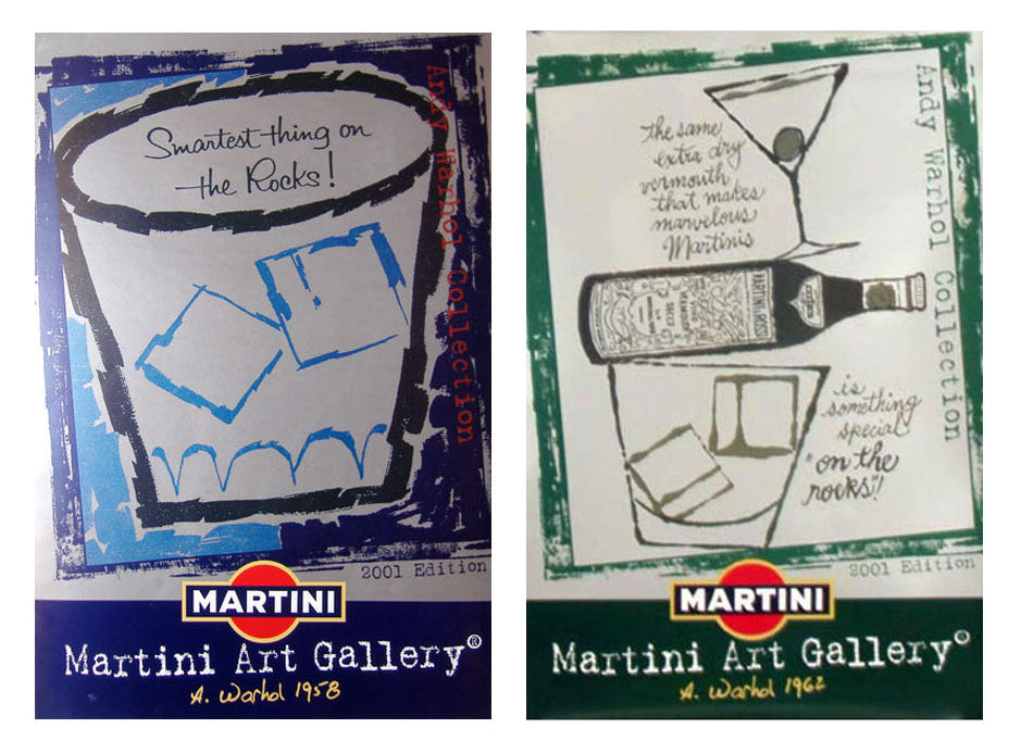 Andy Warhol - Martini Art Gallery Set of 2 Original Vintage Lithographs 2001