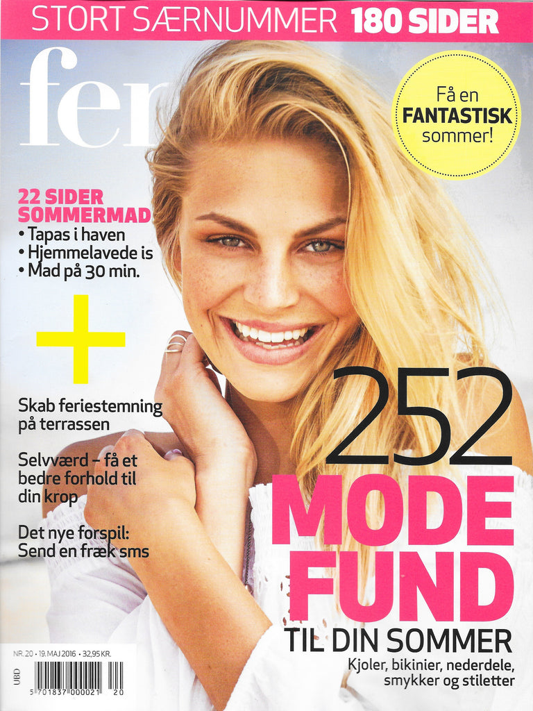 Monica Hansen Beachwear orange bikini featured in Denmark's Femina Magazine