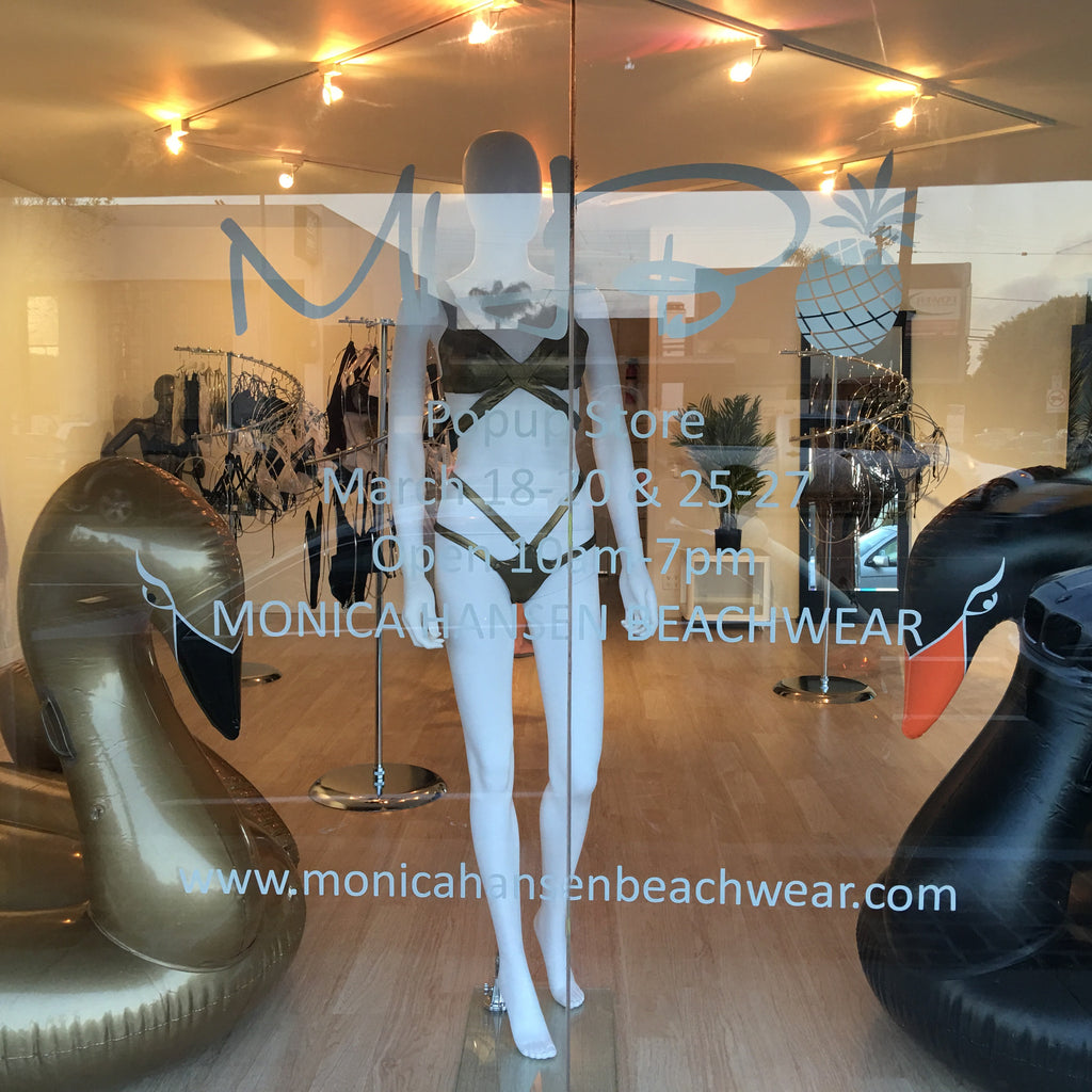 Come Visit the Monica Hansen Beachwear Popup Store March 25-27 from 10am to 7pm at 3018 Washington Blvd, Venice, CA 90292