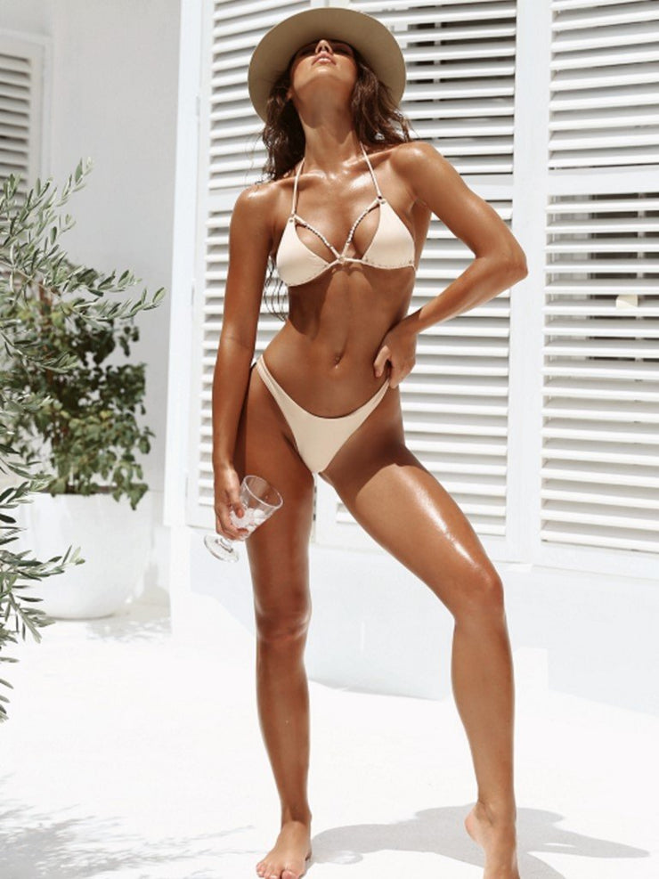 Forever Pearls Smooth Jeweled Front Bikini Top - - Designer Two-piece Tops | Monica Hansen Beachwear
