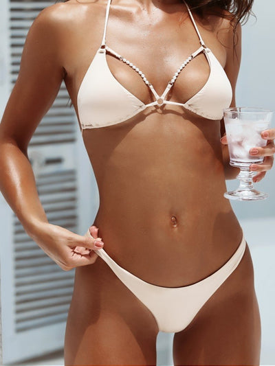 Forever Pearls Smooth Jeweled Front Bikini Top - - Luxury Bikini Tops | Monica Hansen Beachwear
