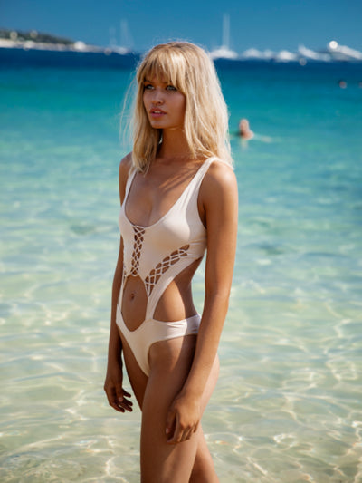 Bohemian Summer Lace Up Monokini Swimsuit - - Luxury Swimsuits | Monica Hansen Beachwear