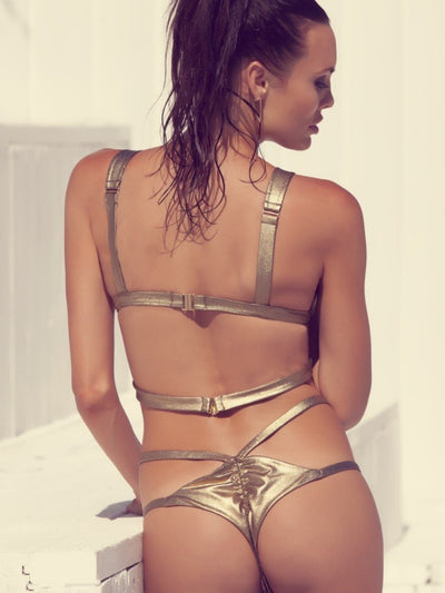 Gold Rush 2 Strap Bottom-Monica Hansen Beachwear