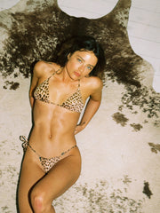 That 90's Vibe Leopard String Bikini Bottom - - Designer Two-piece Bottoms | Monica Hansen Beachwear
